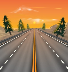 Sunset on the road vector