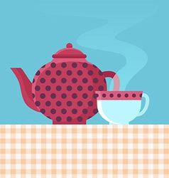 Tea pot and cup vector