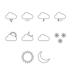thin line weather icon set vector image