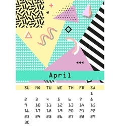 Calendar 2017 retro vintage 80s or 90s fashion vector