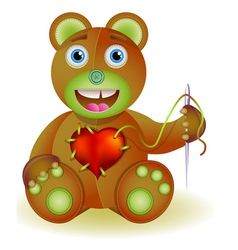 Bear toy with heart vector image