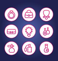 Accessories jewelry perfume line icons set vector