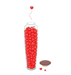 Lovely little hearts in tall glass jar vector