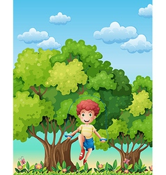 A boy playing with the skipping rope near the vector