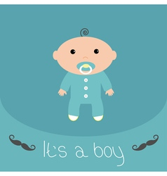 Baby shower card with mustache its a boy flat desi vector