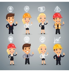 Businessmen with icons set vector