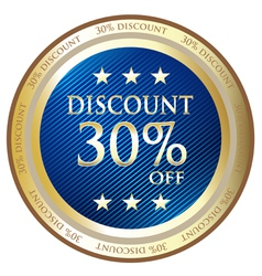 Thirty percent discount blue label vector
