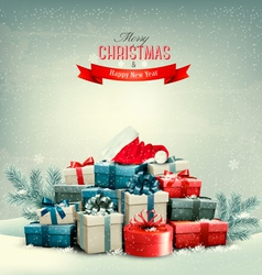 Holiday christmas background with gift boxes and a vector