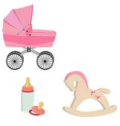 Baby perambulator bottle nipple and rocking horse vector