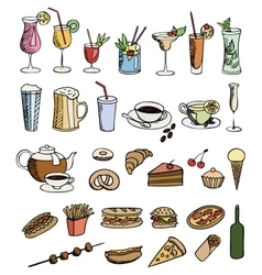 Food and drink color set vector