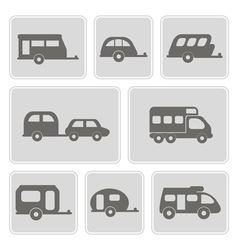 monochrome icons with trailers vector image