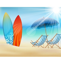 Summertime on beach with surfboard vector