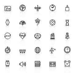 Design time line icons with reflect on white vector