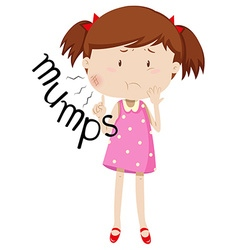 Little girl having mumps vector