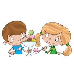 girl and boy with ice cream vector image