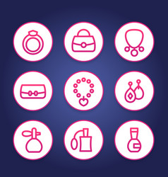 Accessories jewelry perfume line icons set vector