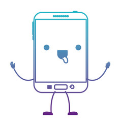 Animated kawaii tablet device icon in degraded vector