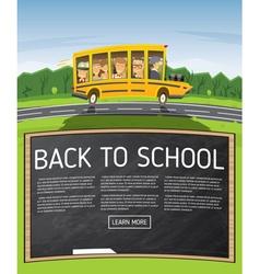 Back to school yellow school bus in cartoon style vector