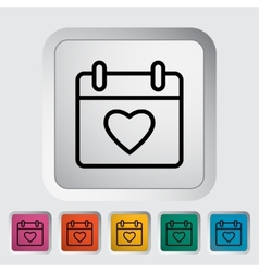 Calendar with heart vector
