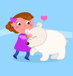 cute girl with polar bear vector image vector image