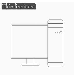 Desktop Computer icon Style thin line vector image vector image