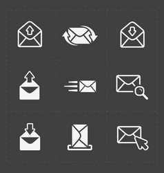 Email and envelope icons on dark vector