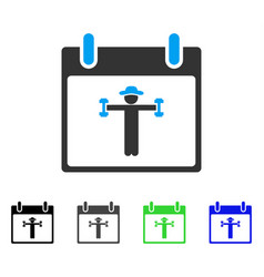 Fitness calendar day flat icon vector