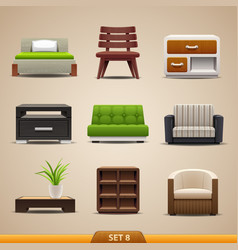 furniture icons-set 8 vector image