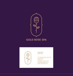 gold rose logo spa cosmetic emblem vector image vector image