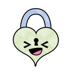 Grated happy heart padlock kawaii personage vector