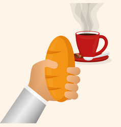 Hand holding bread coffee cup dessert vector