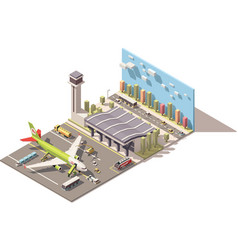 isometric low poly airport terminal vector image vector image