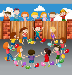 Kids playing balloons on street vector