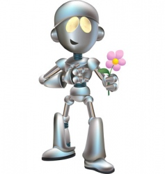 love struck robot with flower vector image vector image