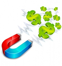 magnet with dollar vector image vector image