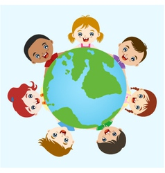 Multicultural children hand in hand on earth vector image vector image
