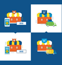 Online shopping delivery of goods store buying vector