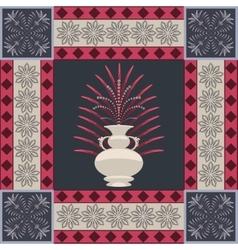 Oriental carpet vase and leaf decor element vector image vector image