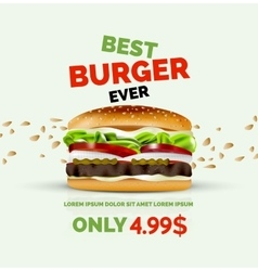 premium burger ad template vector image vector image