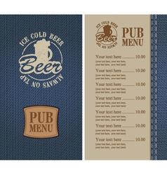 Pub menu vector