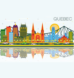 Quebec canada skyline with color buildings blue vector