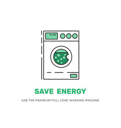 Save electricity wash machine vector