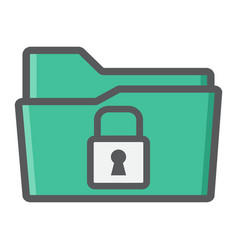 Secure data folder colorful line icon security vector