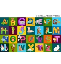 Set of animals alphabet for kids letters cartoon vector