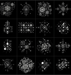 Set of bauhaus abstract monochrome backgrounds vector