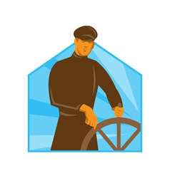 Ship captain helsman steering wheel retro vector