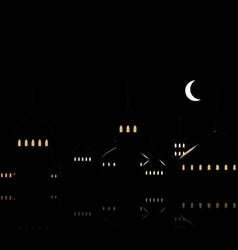 Silhouette of Mosque Against Night Sky with vector image vector image