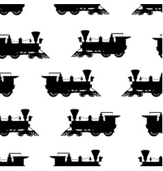 Silhouette steam locomotive seamless background vector