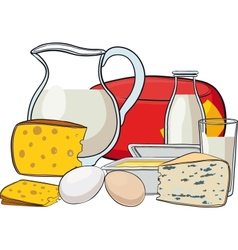 Still life with milk products vector image vector image