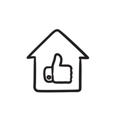 Thumb up in house sketch icon vector